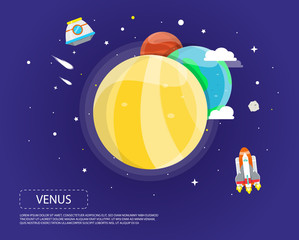 Venus Earth and Mars of solar system illustration design