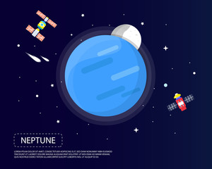 Neptune and Pluto of solar system i illustration design