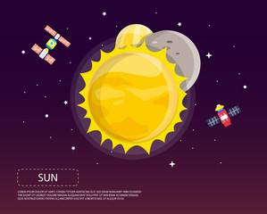 Sun Mercury and Venus of solar system illustration design