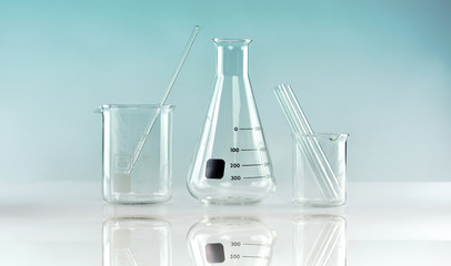 Group of scientific laboratory glassware, Research and development concept.