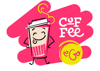 Coffee To Go. Funny and Colorful Hand Drawn Illustration. Paper Coffee Cup Character Shows the Tongue. Cartoon Style. Flat Graphic for Logo for Coffee Shop or Cafe Menu.