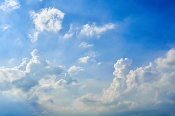 Cloudscape blue sky with clouds background in Sunny day.