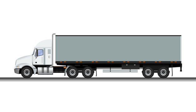 Editable Detailed Side View Grey Trailer Truck Vector Illustration for Vehicle or Shipment Transportation Related Design