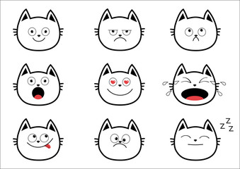 Cute black contour cat set. Funny cartoon characters. Emotion collection. Happy, surprised, crying, sad, angry, smiling. White background. Isolated. Flat design