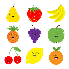 Fruit berry icon set. Pear, strawberry, banana, pineapple, grape, apple, cherry, lemon, orange. Smiling face. Fresh farm healthy food. Education card for kids. Flat design. White background. Isolated.