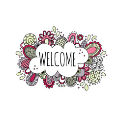 Welcome word in a bubble surrounded by abstract shapes, doodles and swirls in a multi-color doodle vector illustration