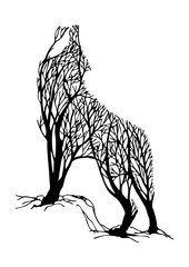 Mysterious aggressive Wolf howl silhouette double exposure blend tree drawing tattoo vector