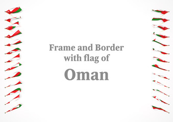 Frame and border with flag of Oman. 3d illustration