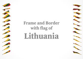 Frame and border with flag of Lithuania. 3d illustration