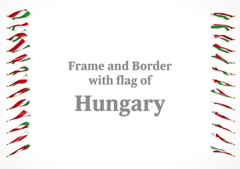 Frame and border with flag of Hungary. 3d illustration