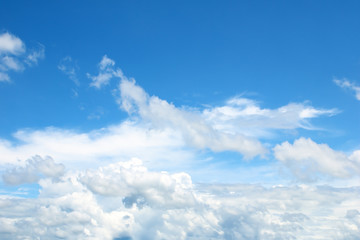 sky and white clouds background.