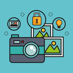 Camera with pictures and technology related objects over blue background vector illustration