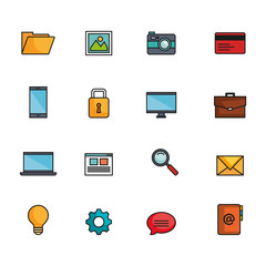 Colorful technology and communication related icon set over white background vector illustration