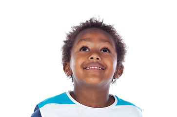 Adorable afroamerican child looking up