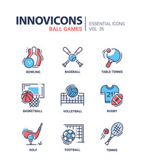 Ball Games - modern vector line design icons set.