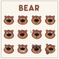 Emoticons set cartoon teddy bear. Collection isolated funny teddy bear different emotion.