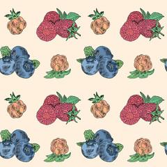 berries seamless pattern.Bblueberry, cloud berry, raspberry
