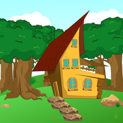 Rural Cartoon Forest Cabin Landscape