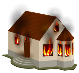 Property Insurance. Private house is on fire