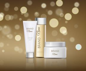 A beautiful cosmetic templates for ads, realistic 3d white tube, white bank and brown bottle