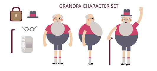 Grandpa character set in poses for animation.Flat vector illustration.