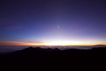 Sunrise at Haleakala Crater on the Hawaiian island of Maui