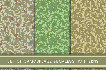 Pixel camo collection. Seamless pattern