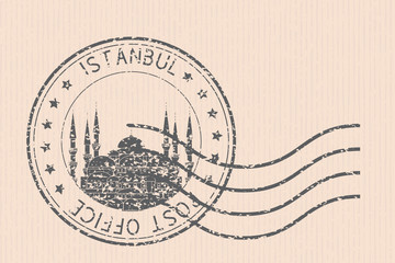 Istanbul, Turkey postmark with the Blue Mosque