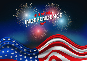 4th of July, United Stated independence day, American national day on USA flag and firework, vector illustration