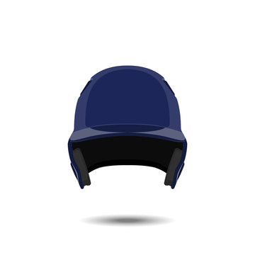 Blue baseball helmet on white background. Sports protection in a realistic style. Vector illustration