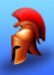 Greek helmet/The figure shows an antique helmet made of yellow metal