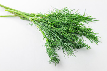Dill weed. Fresh dill greens. Fennel isolated on white