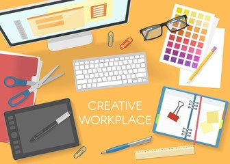 Colorful Office Workplace Top View Template