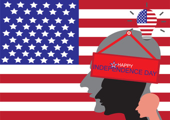 Happy Independence Day. Human of USA with text on flag USA background - fourth of july independence day of the USA