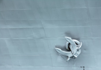 Battle ship anchor background.Warship anchor