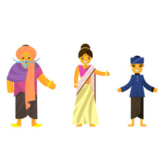 Indians in national dress A man and a woman in traditional costume. Cartoon characters.