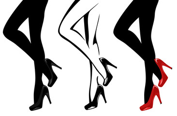 beautiful female legs wearing high-heeled shoes vector illustration