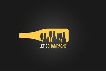 champagne bottle logo design background
