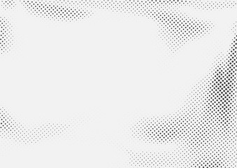 Dotted halftone black and white retro layout. Abstract pop art style page background template