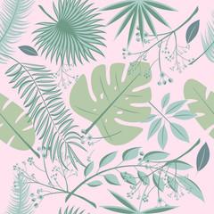 Exotic leaves, rainforest. Seamless realistic tropic leaf pattern. Palm leaf, banana leaf, hibiscus, plumeria flowers. Jungle trees.Botanical floral illustration. Set of vector trendy illustrations.