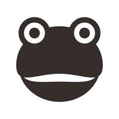 frog smiling face flat icon design, vector illustration