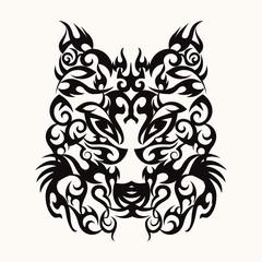 Wolf head art tattoo design tribal