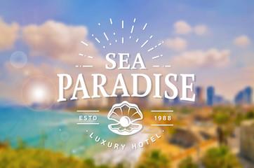 Sea Paradise Hotel logo. Vector template.