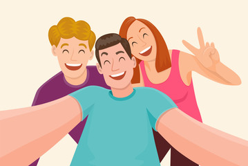 Group of three friends taking a selfie and laughing. Friendship and youth concept. Vector illustration.