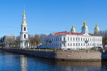 Foto op Aluminium Kiev Nicholas-Epiphany Naval Cathedral on Kryukov Canal Embankment, Saint Petersburg, Russia