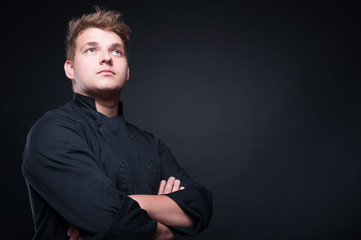 Low angle shot of talented male chef