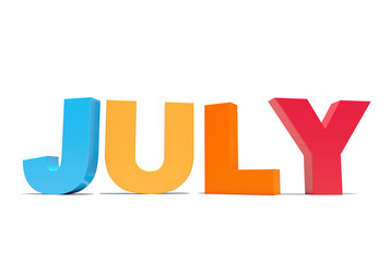 July - calendar month colored letters