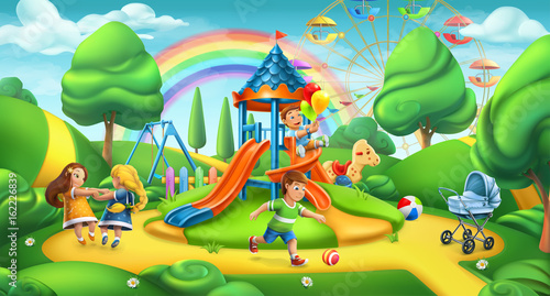Children playground  Nature landscape, park 3d vector