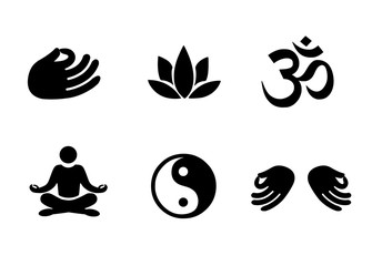 Meditation icon set vector