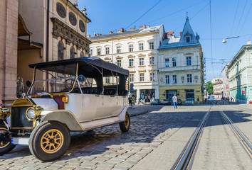 Cityscape background of old part of Lviv city in Ukraine